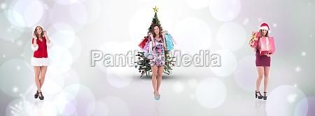 composite image of pretty woman in