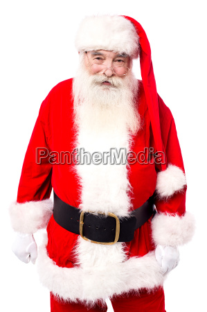smiling father christmas isolated on white