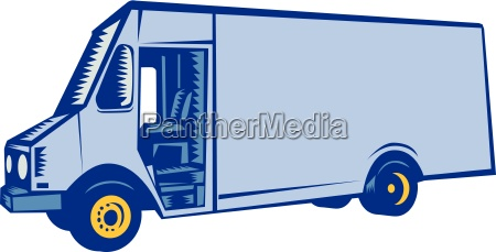 delivery van side woodcut