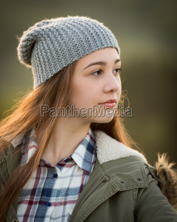 beautiful teenage girl in warm coat