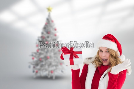 composite image of excited blonde in