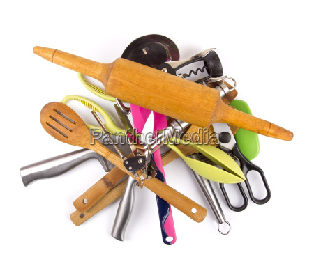 pile with kitchen utensils on a