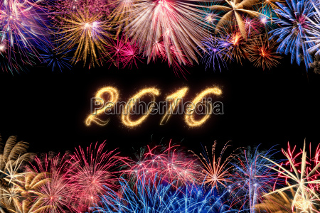 firework border with date 2016