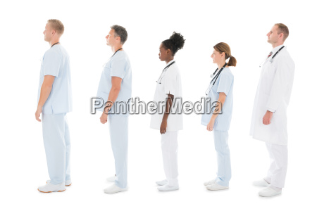 side view of medical team standing
