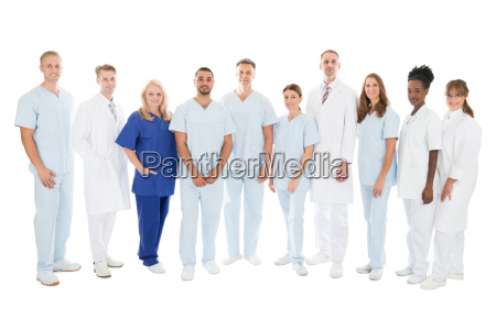 confident multiethnic medical team standing in