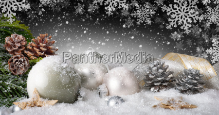 elegant christmas decoration with snow