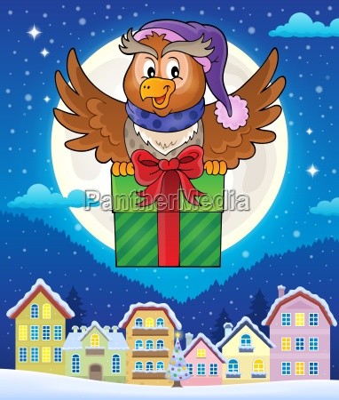 owl with gift theme image 4
