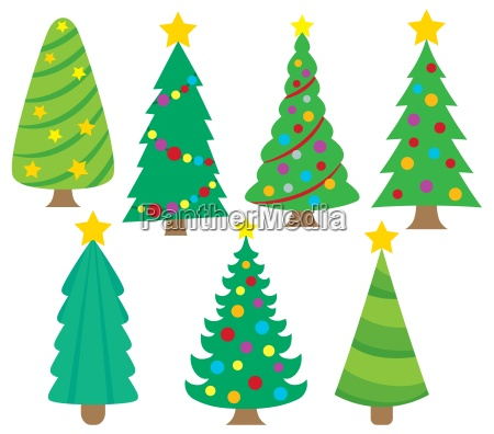 stylized christmas trees collection 1