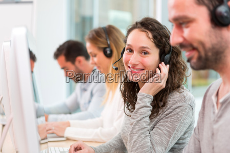 young attractive woman working in a