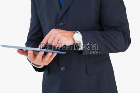 mid section of a businessman touching