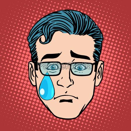 emoji cry sadness man face icon
