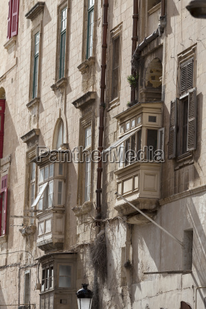 typical maltese balconies in historical district
