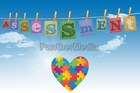 composite image of autism awareness heart