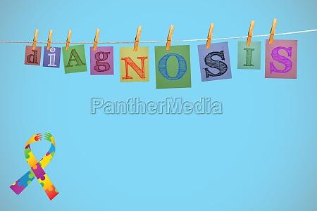 composite image of autism awareness ribbon