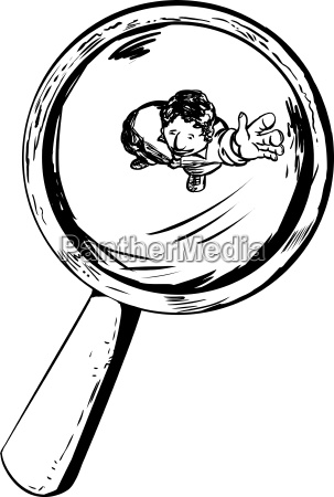 outline of man waving under magnifying