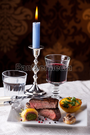 steak with grilled potatoes on a