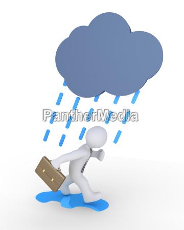 businessman and rain