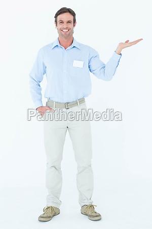 confident businessman gesturing