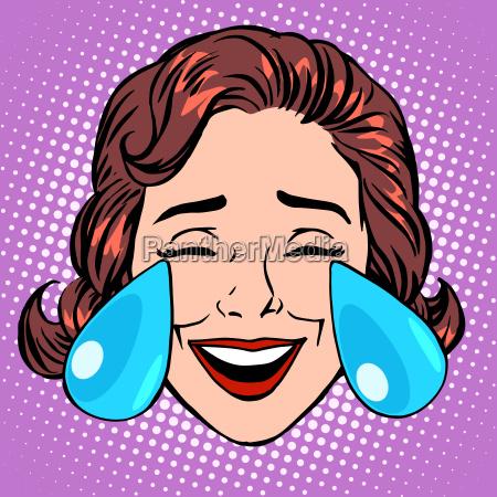 retro emoji tears of joy woman