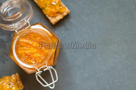 orange jam in jar