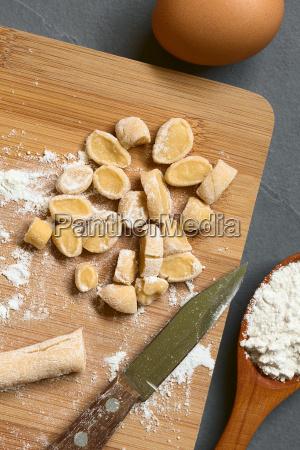 raw homemade hungarian csipetke pasta for
