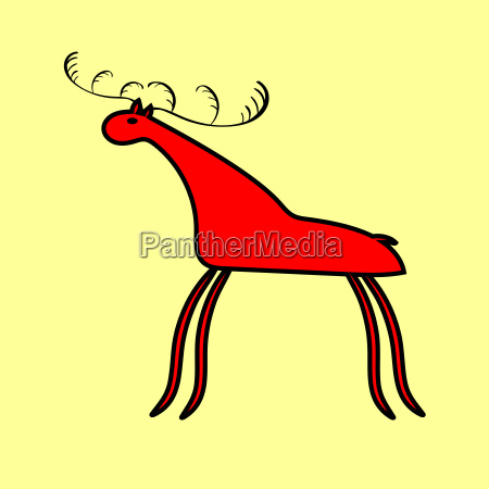 red deer or moose ethnic ornament