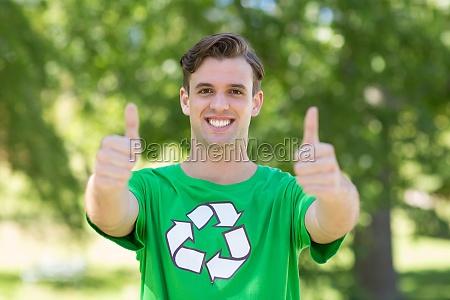 happy environmental activist in the park
