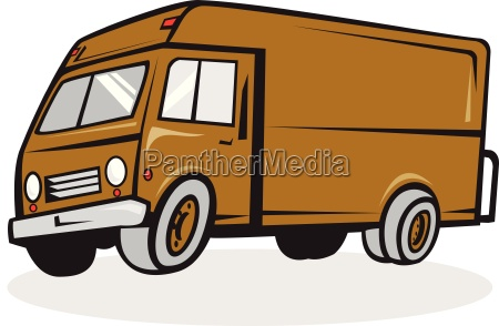 delivery van side isolated cartoon