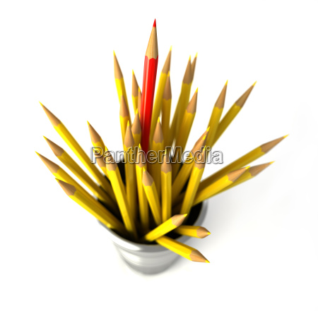 group of many yellow pencils into