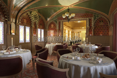 old antique restaurant interior with decorations