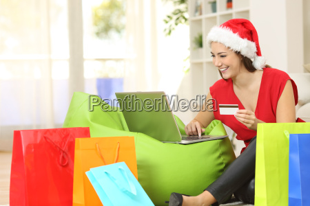 fashion woman buying online for christmas