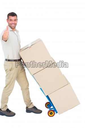 delivery man with cardboard boxes gesturing