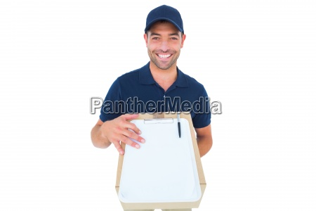 happy delivery man with package and