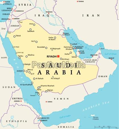 Saudi Arabia Political Map Royalty Free Image 15557373