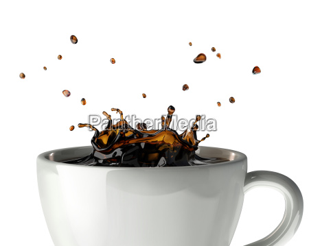 coffee crown splash in mug close