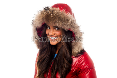 pretty woman in red jacket over