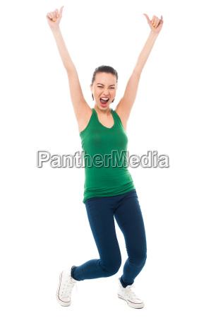 young woman rejoicing heartily