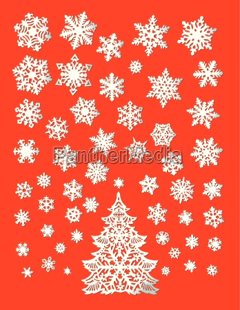 abstract white christmas tree with snowflakes