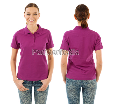 happy woman with blank purple polo