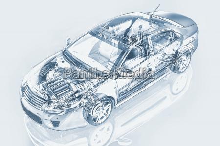 generic sedan car detailed cutaway representation