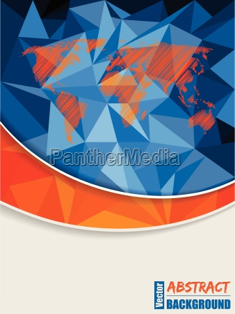 abstract blue brochure with scribbled world