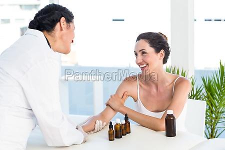 doctor doing skin prick test at