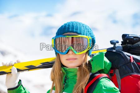 healthy sportive skier woman