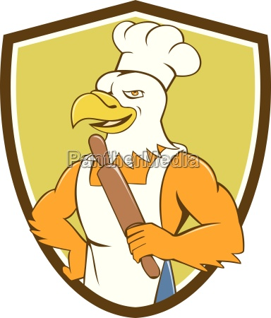 bald eagle baker chef rolling pin
