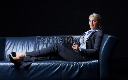 businesswoman on a couch