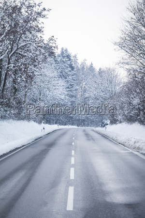 cold winter road with wonderful white