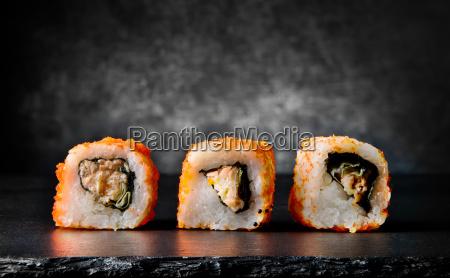 tasty rolls on black