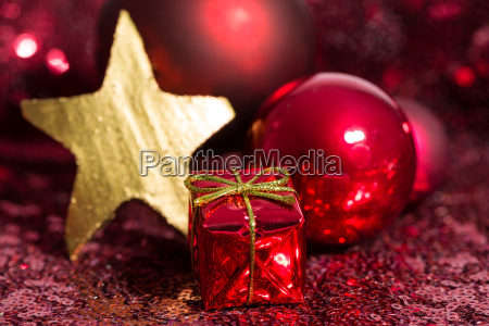 red and golden christmas ornaments with