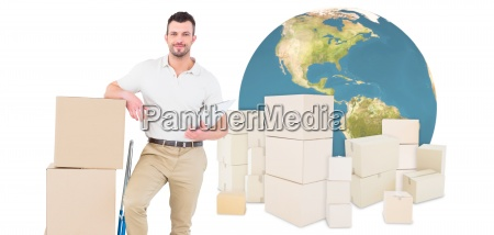 composite image of confident delivery man