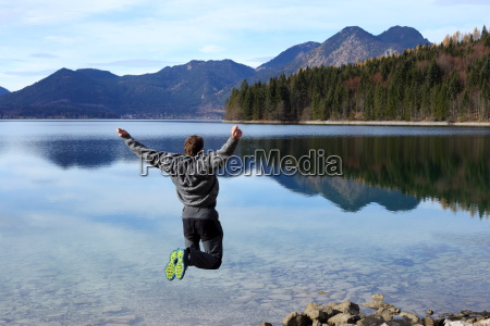 jump in front of the lake